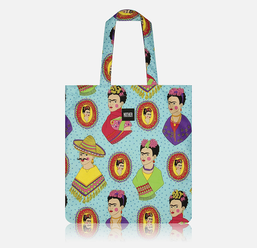 nother Fantastico Frida Kahlo Flat Tote Bag (Turquoise) - 나더, 34,800원, 캔버스/에코백, 에코백
